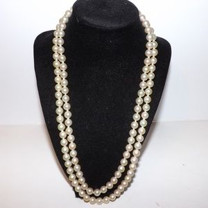 Vintage Double Strand Faux Pearl Necklace-Rose